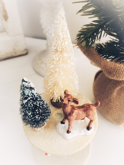 flocked bottle brush tree mini deer figurine