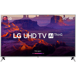 "Smart TV LED 50"" LG 50UK6510 Ultra HD 4k com Conversor Digital 4 HDMI 2 USB Wi-Fi ThinQ AI WebOS 4.0 60Hz Inteligencia Artificial - Prata"
