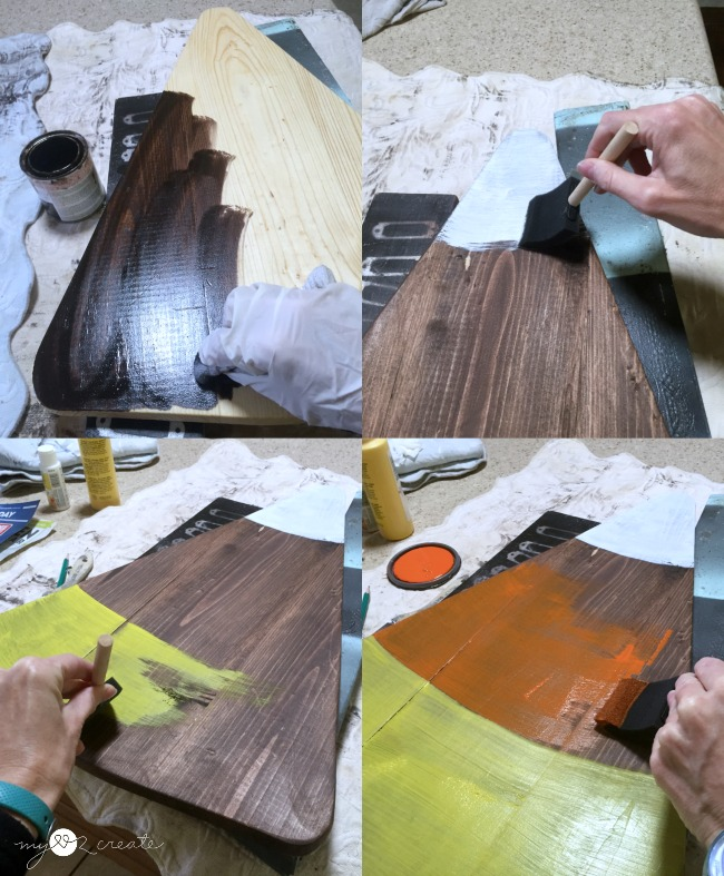 staining wood and painting on candy corn