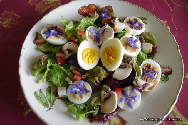 Salade de printemps aux fleurs de Bourrache.