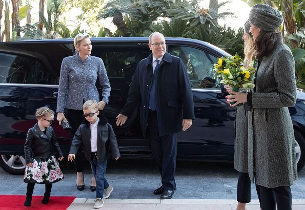 Prince Albert, Prince Jacques, Princess Gabriella and Pierre Casiraghi. Princess Charlene is wearing Akris jacket