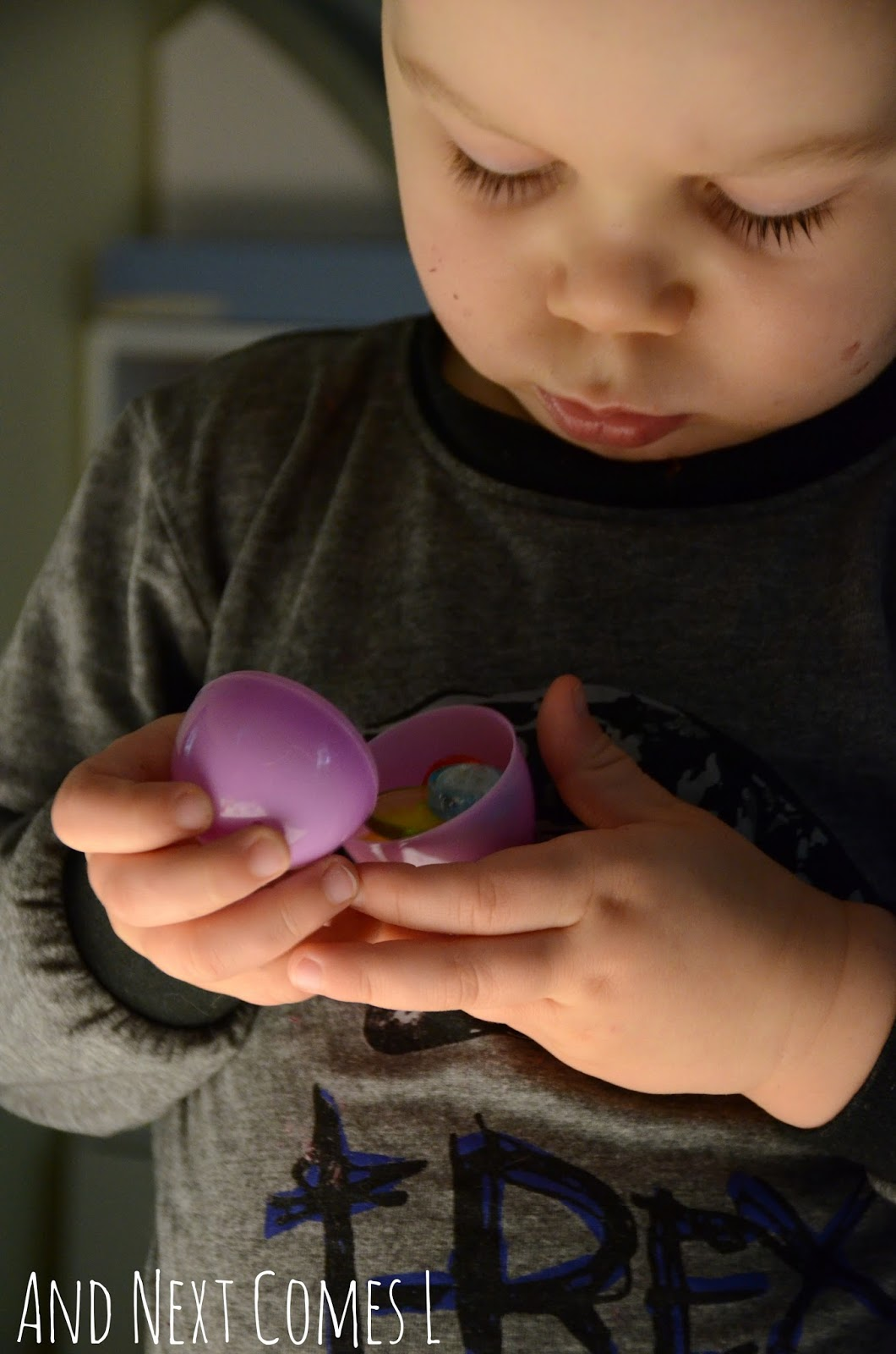 Playing with plastic Easter eggs at the light table