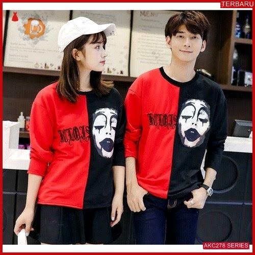 AKC278K119 Kaos Couple Pasangan Anak 278K119 Baju Red BMGShop