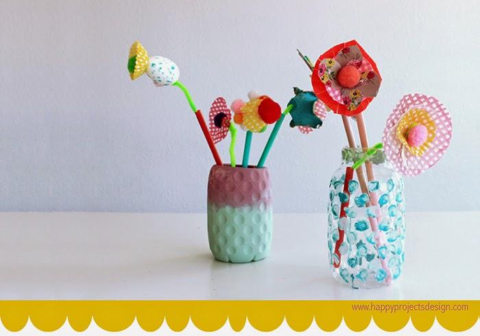 Jarrón y flores upcycling