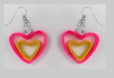 Rose color quilling paper earrings 2015 - quillingpaperdesigns