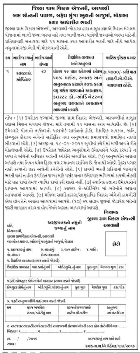 District Rural Development, Modasa Cluster Coordinator Recruitment 2016