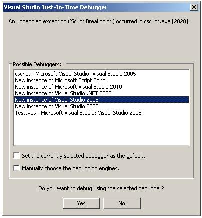how to debugg vbscript files or  vbs files using visual studio | how
