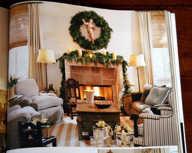 Pamela Pierce designed living room decorated for Christmas.