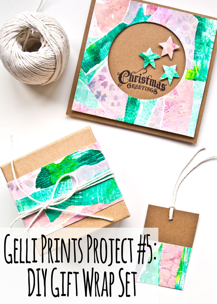 Gelli Prints Project #5: DIY Holiday Season Gift Wrap Set with a video by Kim Dellow