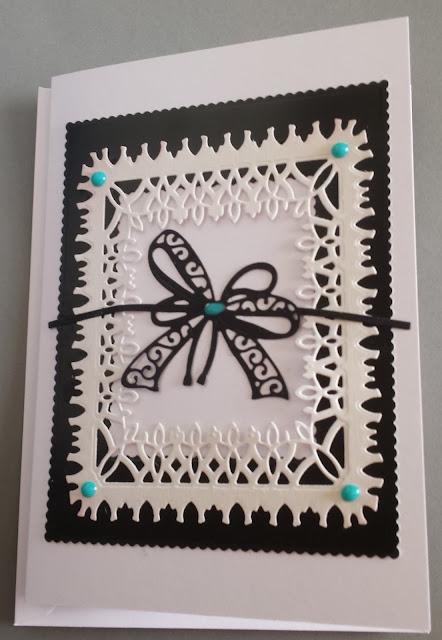 """Monochrome black & white (with bow)  7"""" x 5"""" white card"""