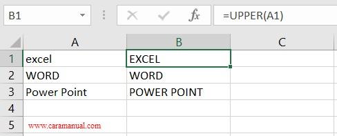 rumus upper mengubah huruf menjadi besar di excel