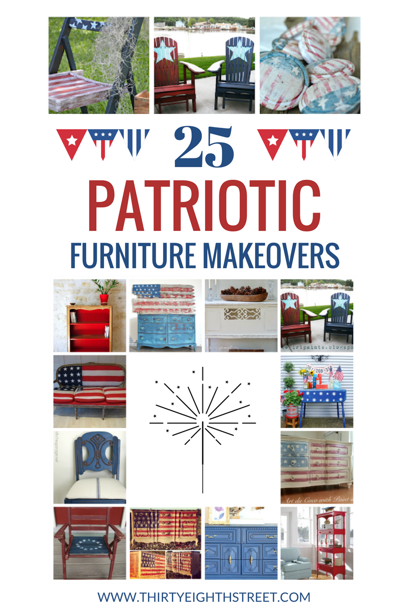 furniture makeovers, painted furniture, painting furniture, red painted furniture, white painted furniture, blue painted furniture, 4th of july decor, fourth of july decor, home decor