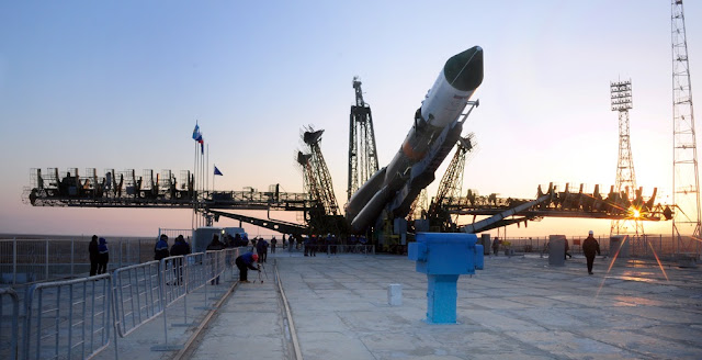 Soyuz-U rocket with the Progress MS-04 spacecraft being erected at the launch pad at the Baikonur Cosmodrome. Photo Credit: RKK Energia.