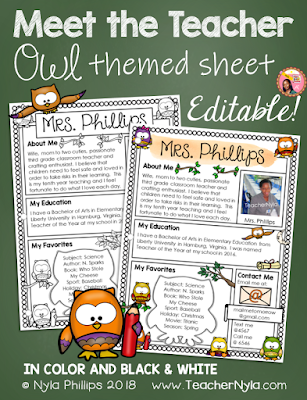 Meet the Teacher Editable Letter Template Owl Theme