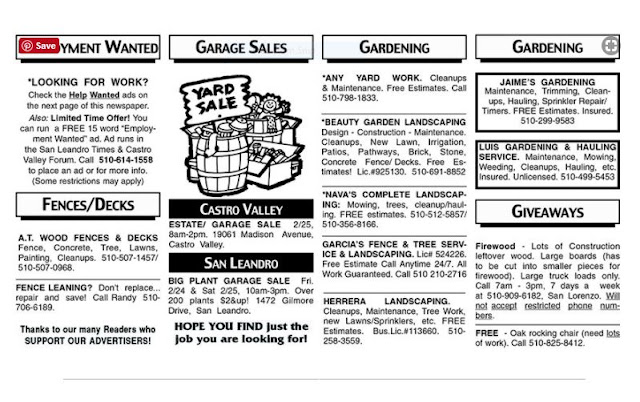 classified garage sale ad newspaper
