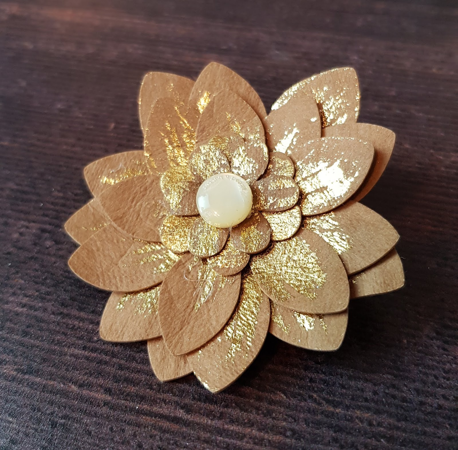 Silhouette Uk Faux Leather Paper Flower Brooch