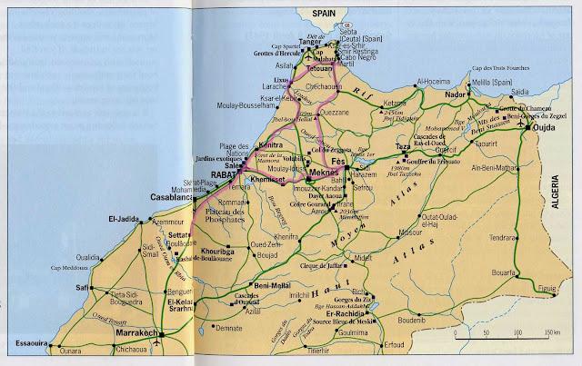 Mapa do norte de Marrocos