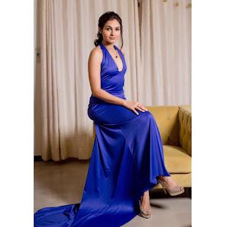 Actress Andrea Jeremiah Glam Blue Dress Photoshoot Pics