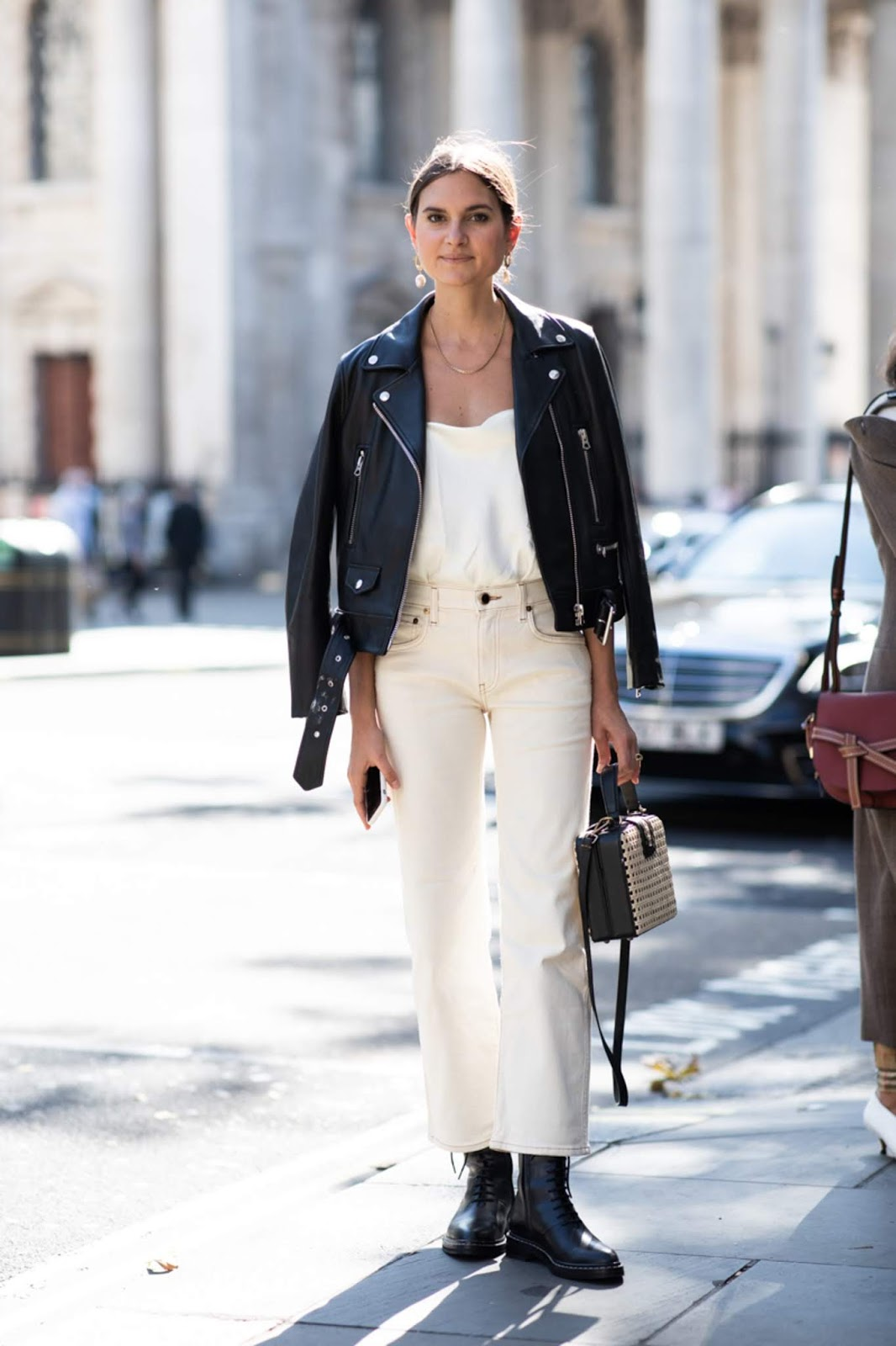 Spring Outfit Inspiration: Leather Moto Jacket, White Cami Top, Off-White Jeans, Black Combat Boots