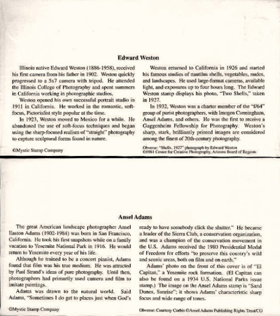 Plicuri prima zi - E. Weston & A. Adams (verso)
