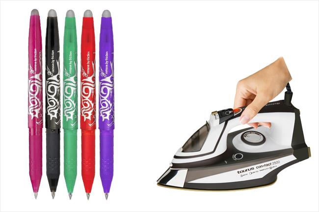 cinco bolígrafos pilot frixie de colores y una plancha con una mano