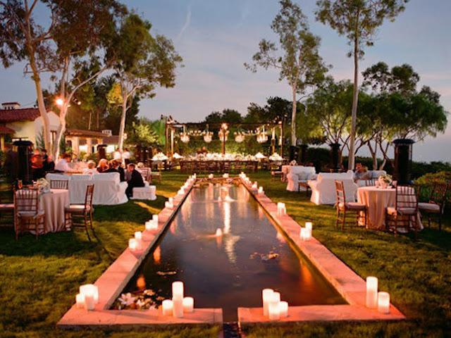 Decoración con velas elegante para bodas y decoración de piscina