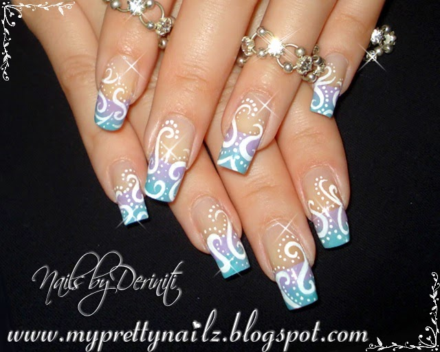 My Pretty Nailz Pretty Pastel Ombre French Tips With Hand Drawn Design Nail Art And Video Tutorial