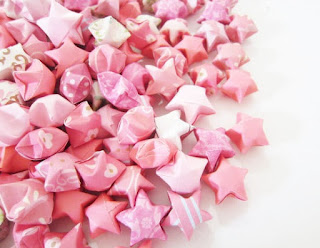 100 Coral Aurora Origami Stars by Trinkets By Dana Etsy Shop - Cute Wedding Table Confetti Sprinkle Decorations