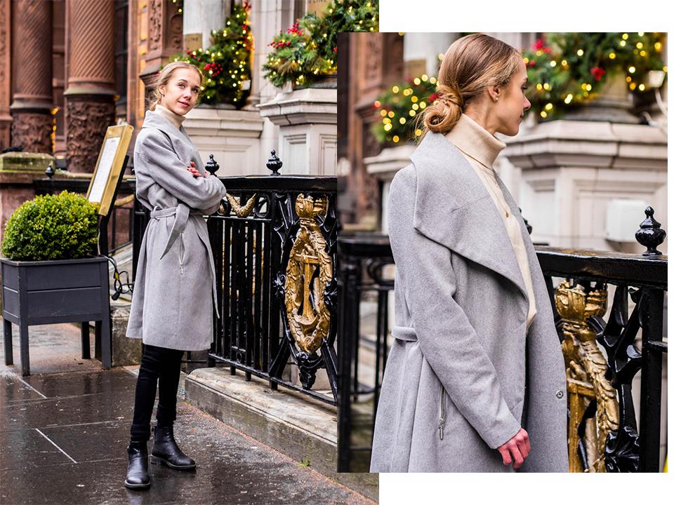 Winter outfit with grey wool coat - Talviasu harmaan villakangastakin kanssa