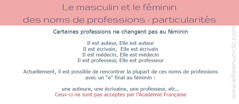 Masculin et féminin des adjectifs et des noms de professions, particularités