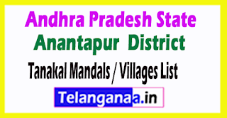 Tanakal Mandal Villages Codes Anantapur District Andhra Pradesh State India