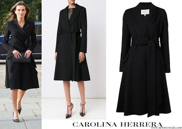 Queen Letizia wore Carolina Herrera Black A-Line Belted Coat
