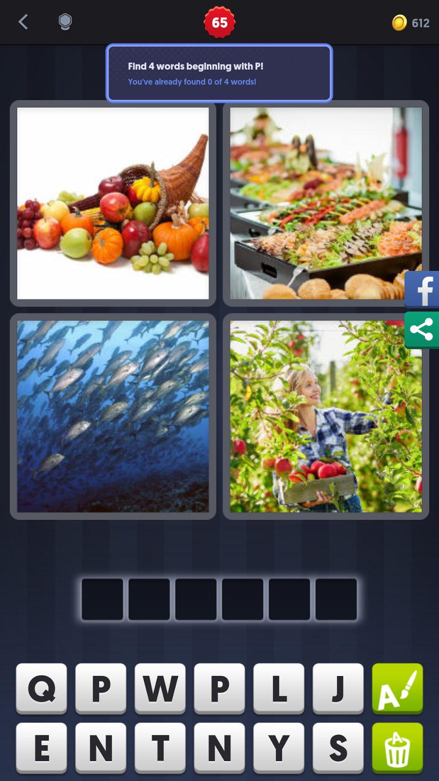 4 pics 1 word answers solutions level 65 plenty keywords 6 letter wordfruitfish gardenmeal expocarfo Gallery