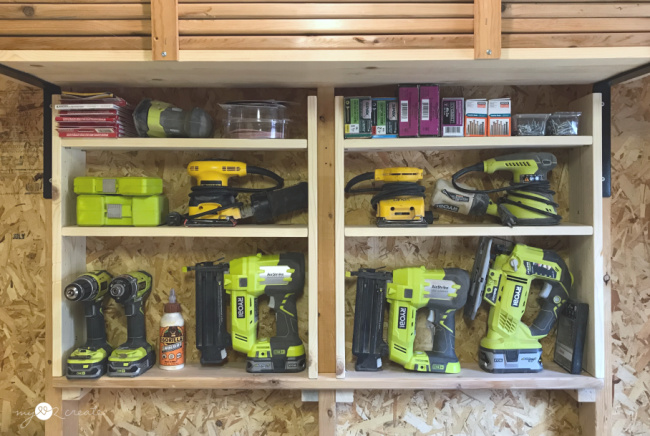 How to build easy between the studs workshop shelves