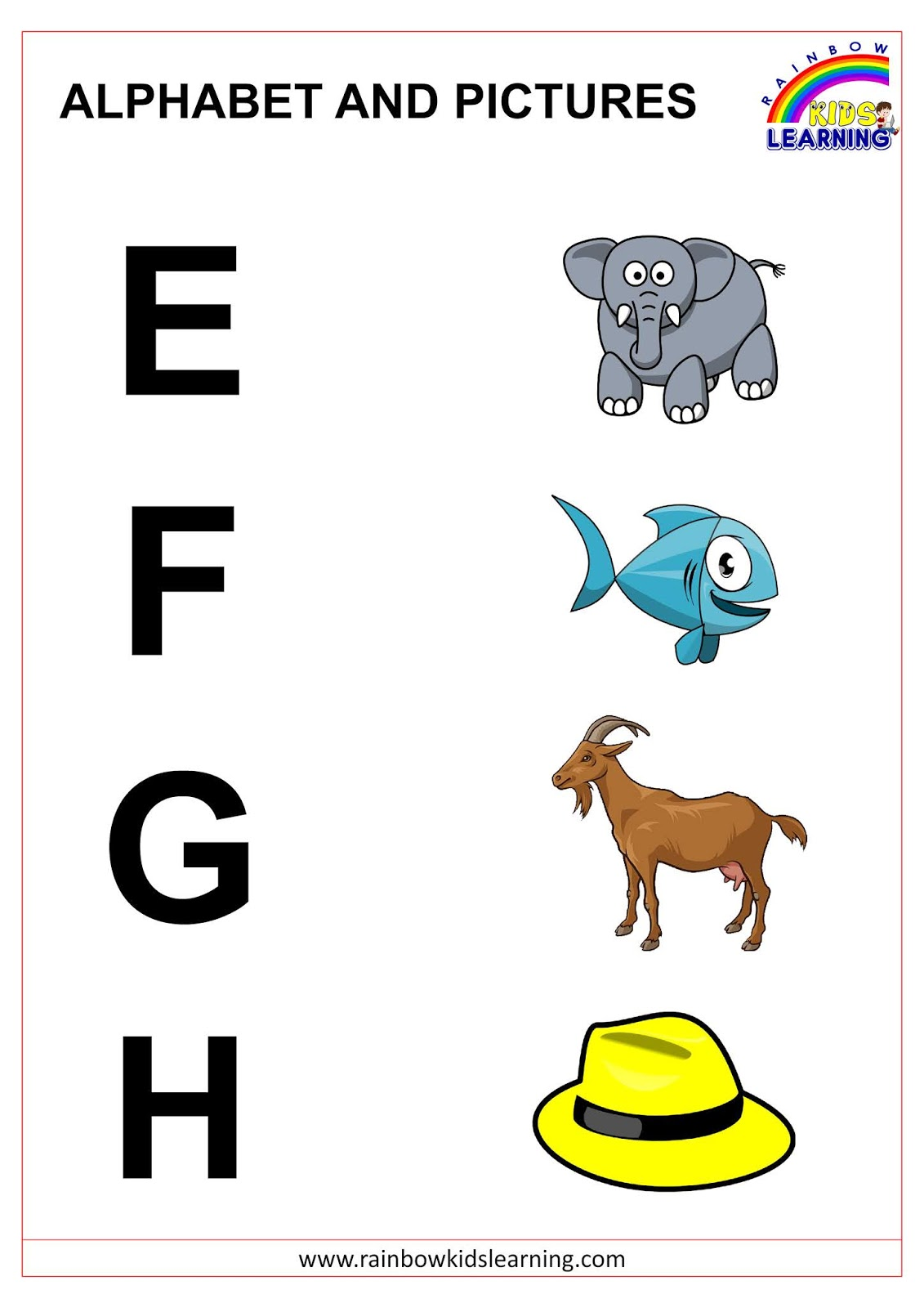 Alphabet With Pictures For Beginners