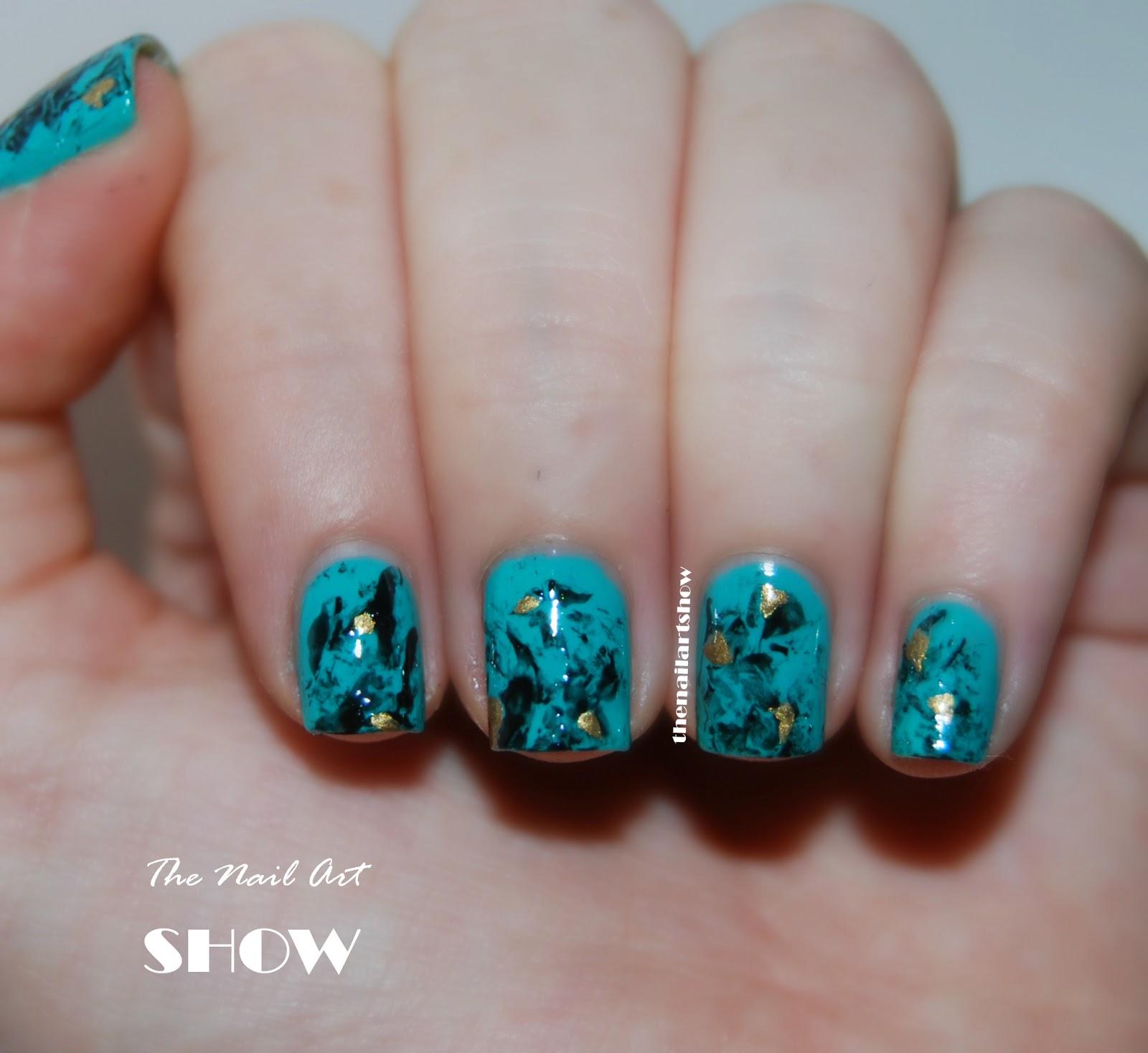 June Nail Art Challenge  Day 10: Saran Wrap (Turquoise ...