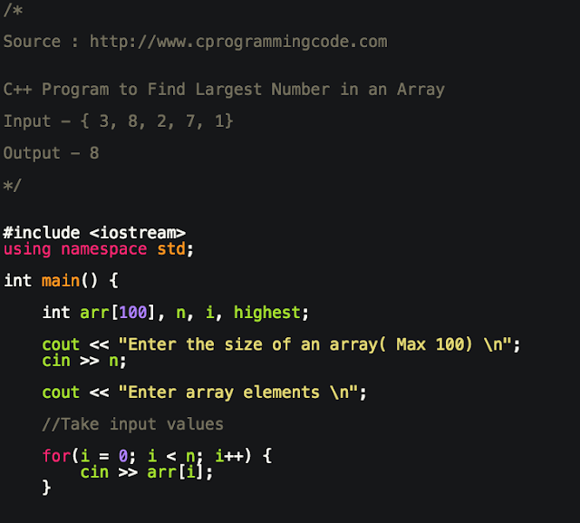 C++ Program to Find Largest Number in an Array