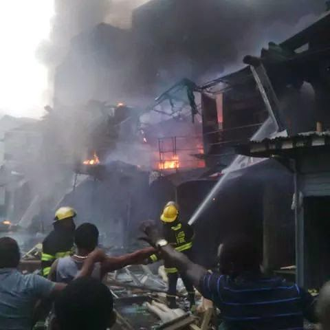 Properties worth billions of dollars was lost as Fire guts popular Balogun market, four houses, five plazas razed