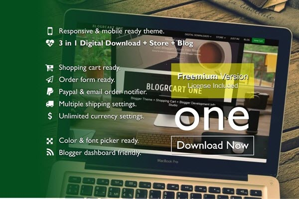 Blogrcart One Blogger Template, download free blogspot theme 2018