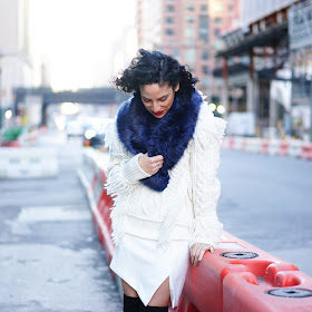 all white, winter white outfit, suede OTK boots, DUO OTK boots, Coach Ayan Fringe turtleneck, missguided faur fur wrap, nyc streetstyle, Where's my drivr, streetstyle, nyc, curly hair