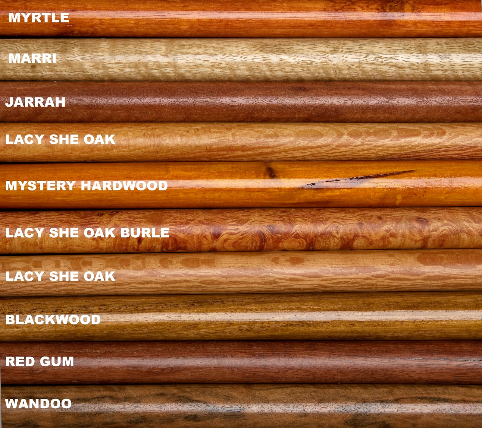 DRILL CANES: Examples Of Wood Types