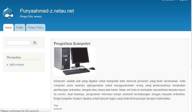 website drupal yang sudah di onlinekan ke internet