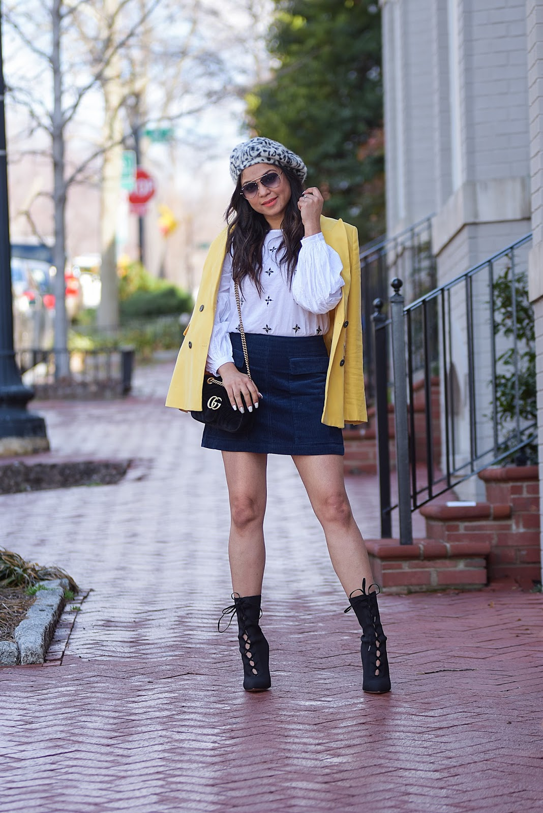 spring outfit, skirt and blazer, primary colors outfit, street style, mini skirt,  double breasted jacket, yellow blazer, style, stylist , myriad musings