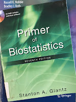 Primer of Biostatistics, by Stanton Glantz, superimposed on Intermediate Physics for Medicine and Biology.