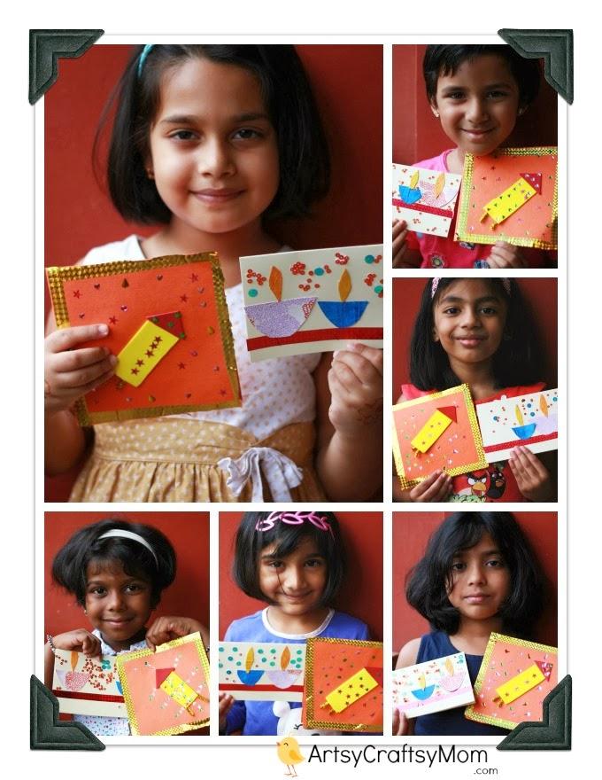 Diwali Handmade card for kids to make  Artsy Craftsy Mom - Glitter Home Decor