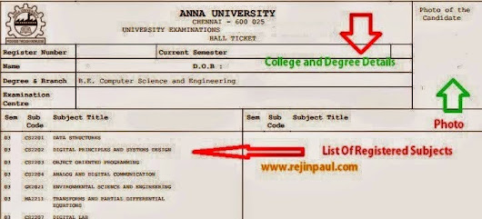 Anna University Exams Nov/Dec 2014 Hall Tickets Issue Date