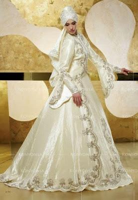 Contoh baju pengantin muslim modern ala timur tengah