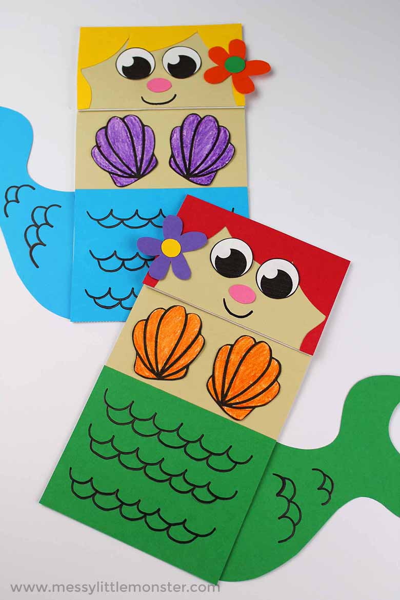 mermaid paper bag puppet craft for kids