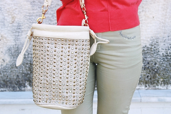 Canvas bag with gold studs.
