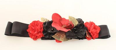 PV 2018 Negro Rojo Cinturon raso flor